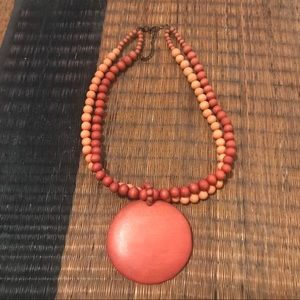 Jewelry - Red & Orange Wooden Circle Beaded Costume Necklace